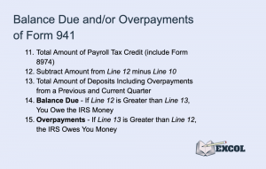 Balance Due and/or Overpayments in Form 941