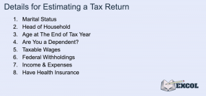 Details for Estimating a Tax Return