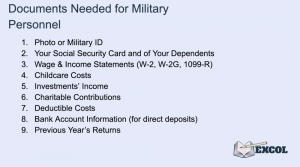 Documents Needed for Military Personnel to File Taxes