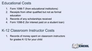 Tax Return Deductions for Education & K-12 Classroom Instructors Costs