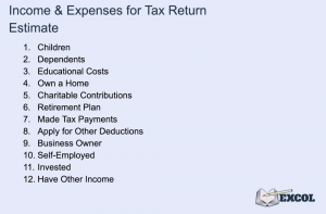 Income & Expenses Considered for Tax Returns