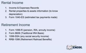 Tax Return | Rental & Retirement Income