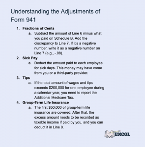 Short Explanation of Each Adjustment in Form 941